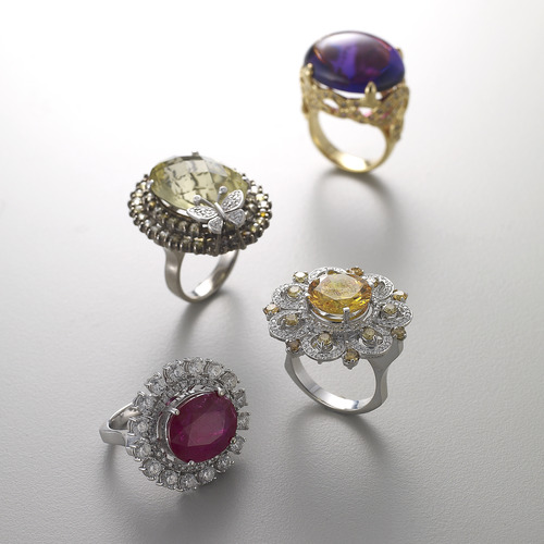 Color  stone  rings